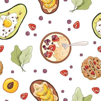 Padrão sem emenda com mingau de aveia, abacate com ovo, biscoitos, sanduíche de frutas.