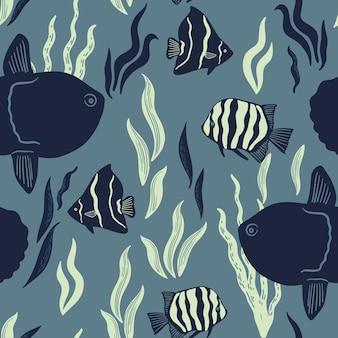 Padrão sem emenda com mola de peixes tropicais vida marinha e criaturas marinhas fundo náutico
