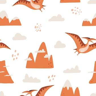 Padrão sem emenda com montanhas de pterodáctilo de dinossauro e nuvem e ilustração vetorial desenhada