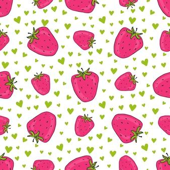 Padrão sem emenda com morangos cor-de-rosa. impressão de morangos de vetores com corações. antecedentes para design de têxteis e embrulhos