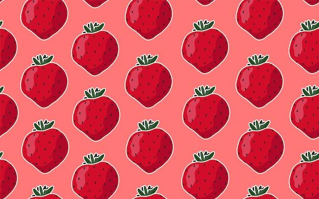 Padrão sem emenda com morangos em um fundo rosa.