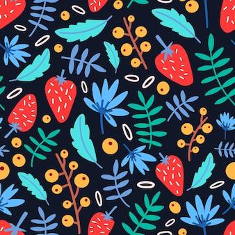 Padrão sem emenda com morangos, flores e folhas em fundo preto