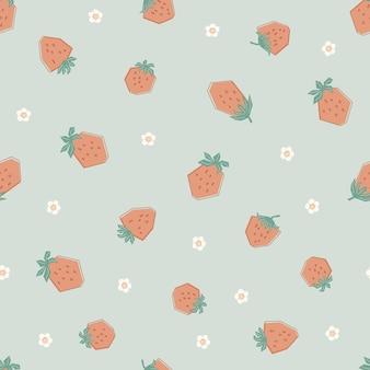 Padrão sem emenda com morangos pequenos e flores bonitos em tons pastel. fundo verde com frutas frescas. ilustração em estilo simples para crianças de roupas, têxteis, papel de parede. vetor