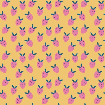 Padrão sem emenda com morangos rosa de desenho animado