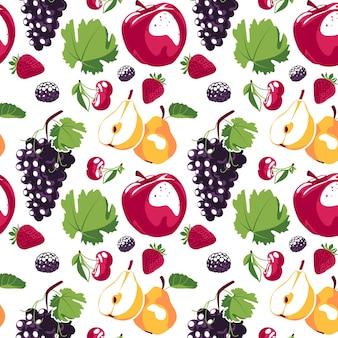 Padrão sem emenda com morangos suculentos, maçã, pêra, uvas, amoras e cerejas