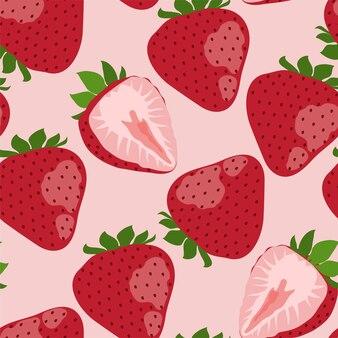 Padrão sem emenda com morangos vermelhos em fundo rosa