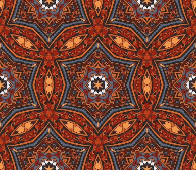 Padrão sem emenda com motivos abstratos tribais em mosaico indiano