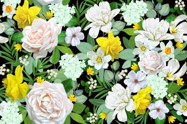 Padrão sem emenda com motivos florais de primavera