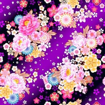 Padrão sem emenda com motivos florais em estilo asiático para design de tecidos para vestidos de primavera