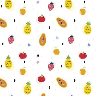 Padrão sem emenda com muitas frutas fofos