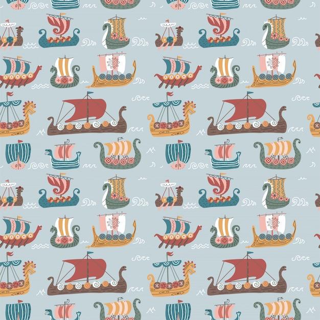 Padrão sem emenda com muitos drakkars viking. navios de veleiro do mar escandinavo na moda.