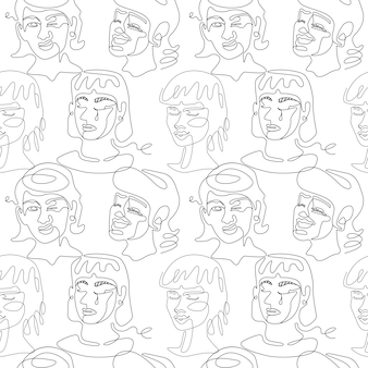 Padrão sem emenda com mulher rostos retrato de arte de uma linha