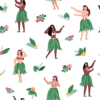 Padrão sem emenda com mulheres dançarinas de hula havaiana e folhas tropicais, fundo decorativo infinito com motivo repetível havaiano.