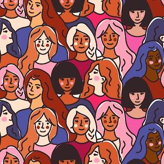 Padrão sem emenda com mulheres de diferentes nacionalidades e raças.