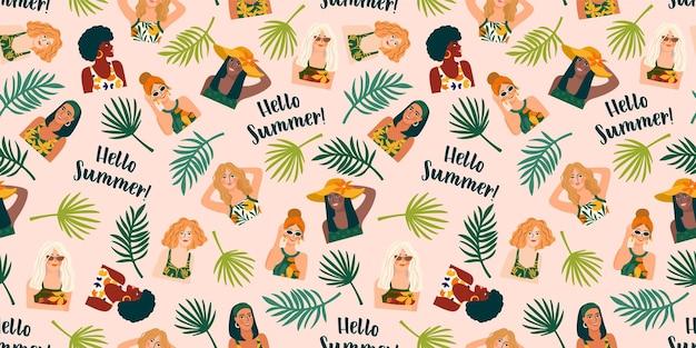 Padrão sem emenda com mulheres em trajes de banho e plantas tropicais.