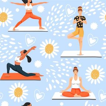 Padrão sem emenda com mulheres em várias poses de ioga.