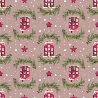 Padrão sem emenda com natal festivo abriga galhos de árvores e flocos de neve em fundo rosa brilhante.