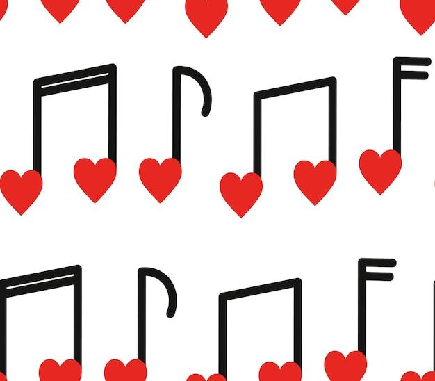 Padrão sem emenda com notas musicais em forma de coração em fundo branco.