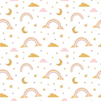 Padrão sem emenda com nuvem, arco-íris, estrelas, lua no céu.