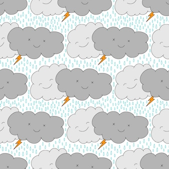 Padrão sem emenda com nuvens chuvosas engraçadas. fundo infantil kawaii. desenho em tecido de pijama.