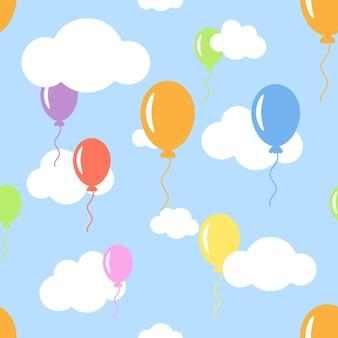 Padrão sem emenda com nuvens e balões de cores diferentes flutuantes