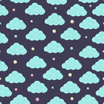 Padrão sem emenda com nuvens e círculos coloridos.