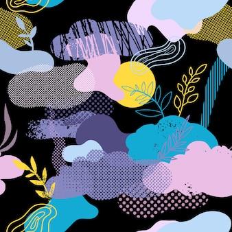 Padrão sem emenda com nuvens, elementos florais e gráficos