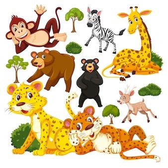 Padrão sem emenda com o personagem de desenho animado de animais selvagens fofos