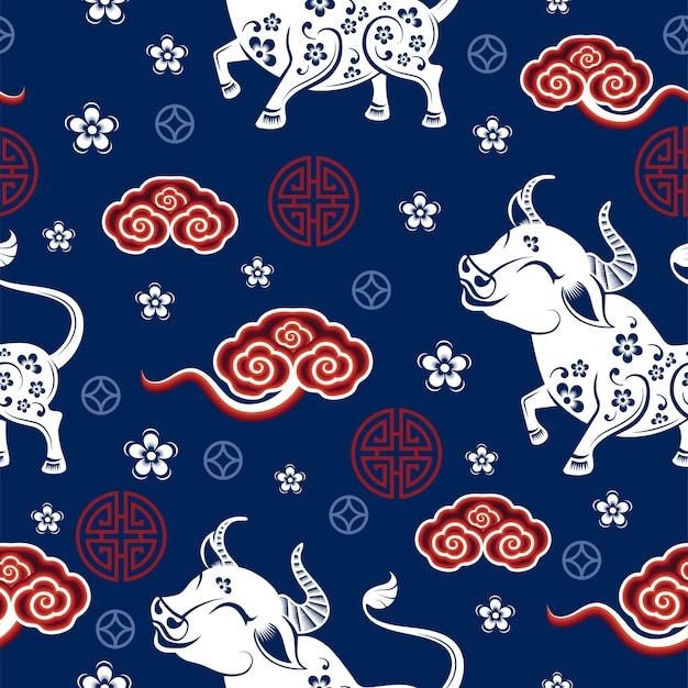 Padrão sem emenda com o signo de ano novo chinês do zodíaco do boi com elementos asiáticos