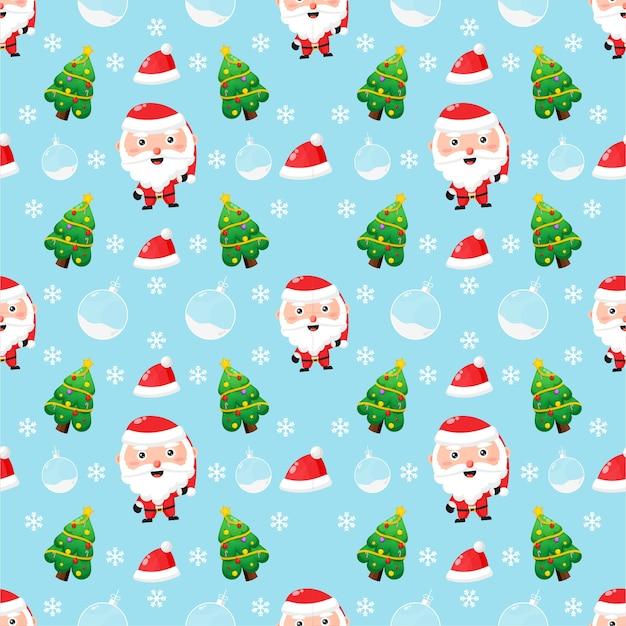 Padrão sem emenda com o tema natal. papai noel fofo e uma árvore de natal