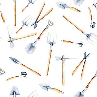 Padrão sem emenda com objetos de aquarela de ferramentas de jardim