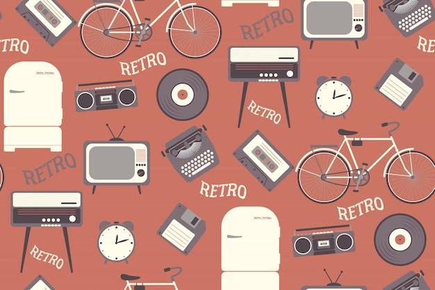 Padrão sem emenda com objetos dos anos 80. estilo retrô