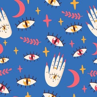 Padrão sem emenda com olhos, palma. ilustração em vetor.