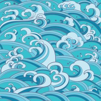 Padrão sem emenda com ondas de água e salpicos