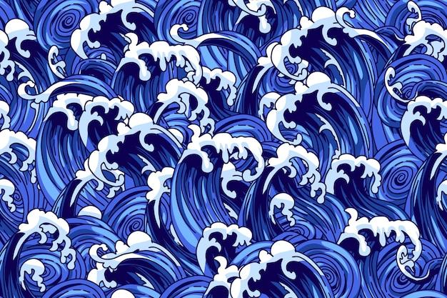 Padrão sem emenda com ondas em estilo chinês