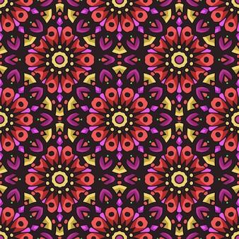 Padrão sem emenda com ornamento de arte mandala étnica. padrão sem emenda de mandala. padrão floral mandala