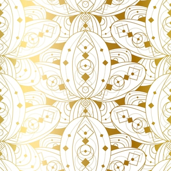 Padrão sem emenda com ornamento dourado abstrato. impressão geométrica dourada sobre fundo branco. ilustração em vetor modelo de bela decoração de luxo em estilo vintage