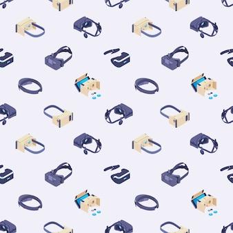 Padrão sem emenda com os fones de ouvido da realidade virtual