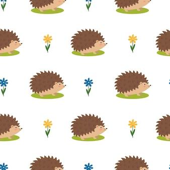 Padrão sem emenda com ouriços fofos e flores, ilustração vetorial