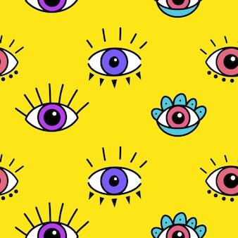 Padrão sem emenda com padrão mágico de olhos estampa desenhada à mão mística