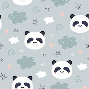 Padrão sem emenda com panda bonito.