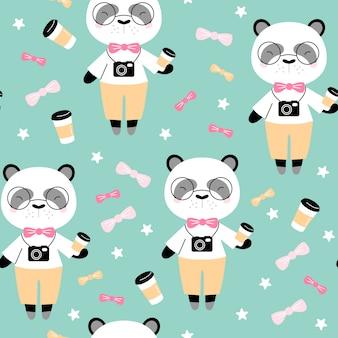 Padrão sem emenda com panda fofo com café