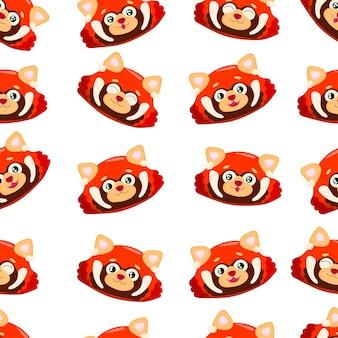 Padrão sem emenda com panda vermelho fofo panda pequeno padrão com ailurus fulgens em branco