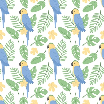 Padrão sem emenda com papagaio de arara, folhas tropicais e flor de plumeria