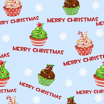 Padrão sem emenda com papel de parede de desenho animado queques de bolinhos de natal, bolo doce ou decoração