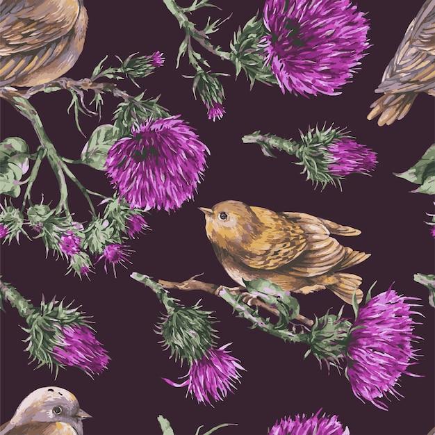 Padrão sem emenda com pássaro aquarela em um galho de papel de parede