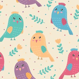Padrão sem emenda com pássaros bonitos