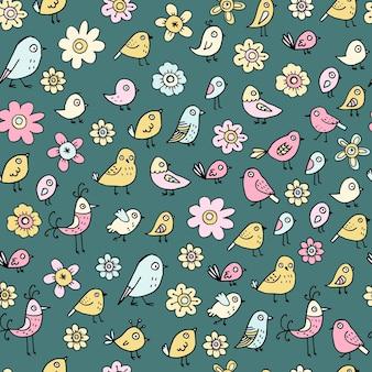 Padrão sem emenda com pássaros coloridos sobre fundo verde