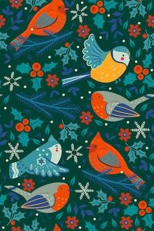 Padrão sem emenda com pássaros de inverno e elementos florais.