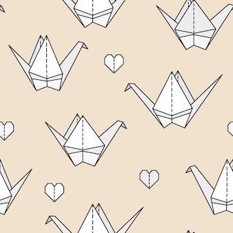 Padrão sem emenda com pássaros de origami.
